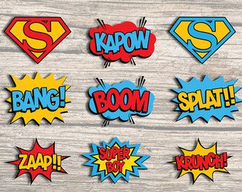 7x GIRL SUPERHERO CENTERPIECE. Party por RedAppleStudio en Etsy