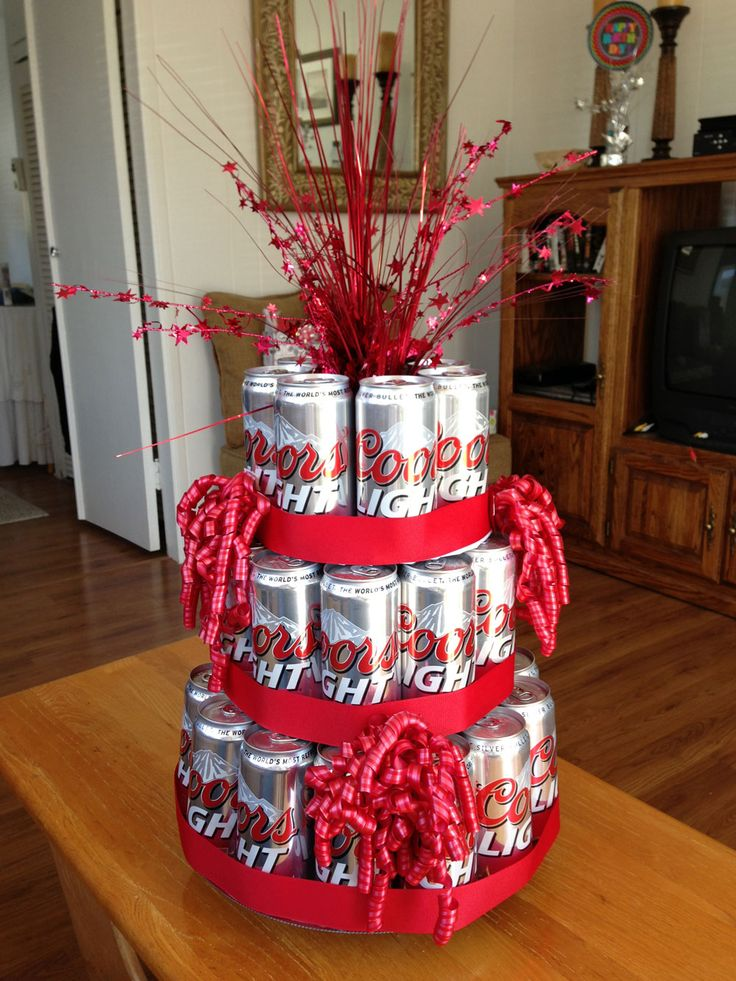 Photo of a DIY Beer Can Cake.