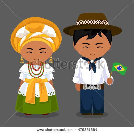 Brazilians in national dress with a flag. Man and woman in traditional costume.  Brazil.
