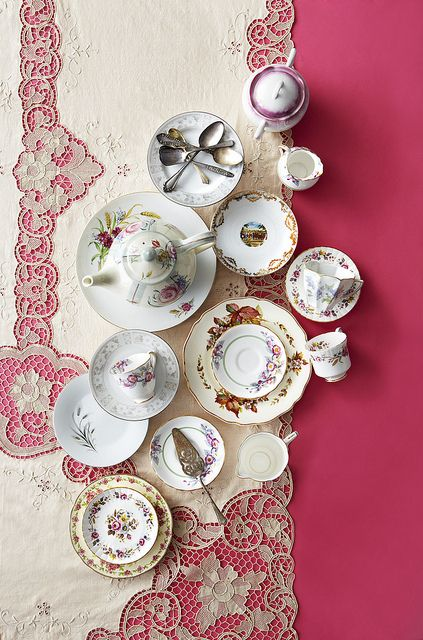 Vintage tea sets. Stylist Daniella Levy Photographer Danella Chalmers