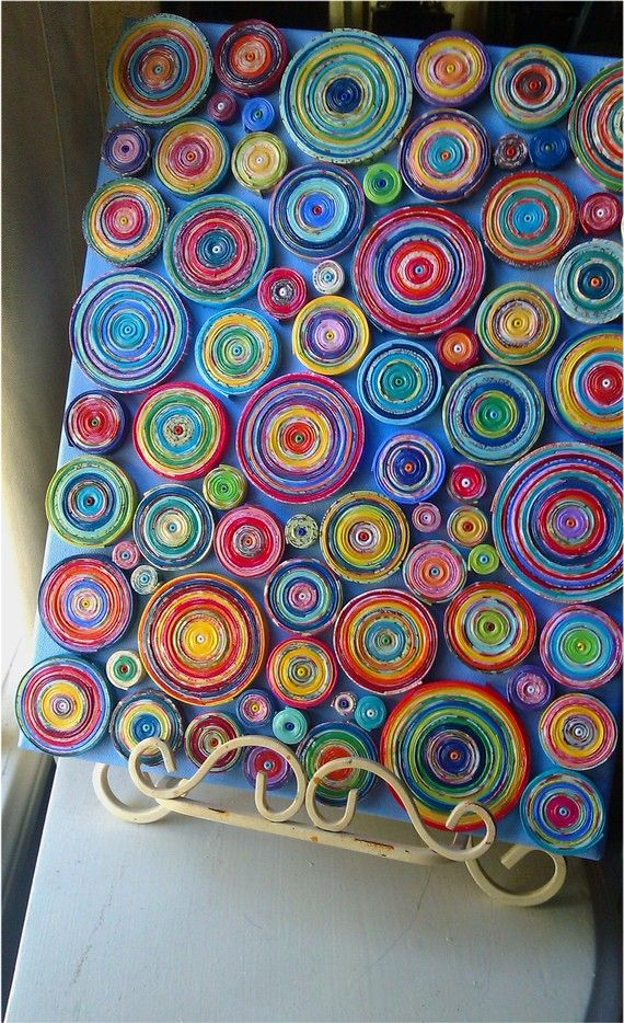 Paper Coils Art Canvas Covered In Coils 11x14 By