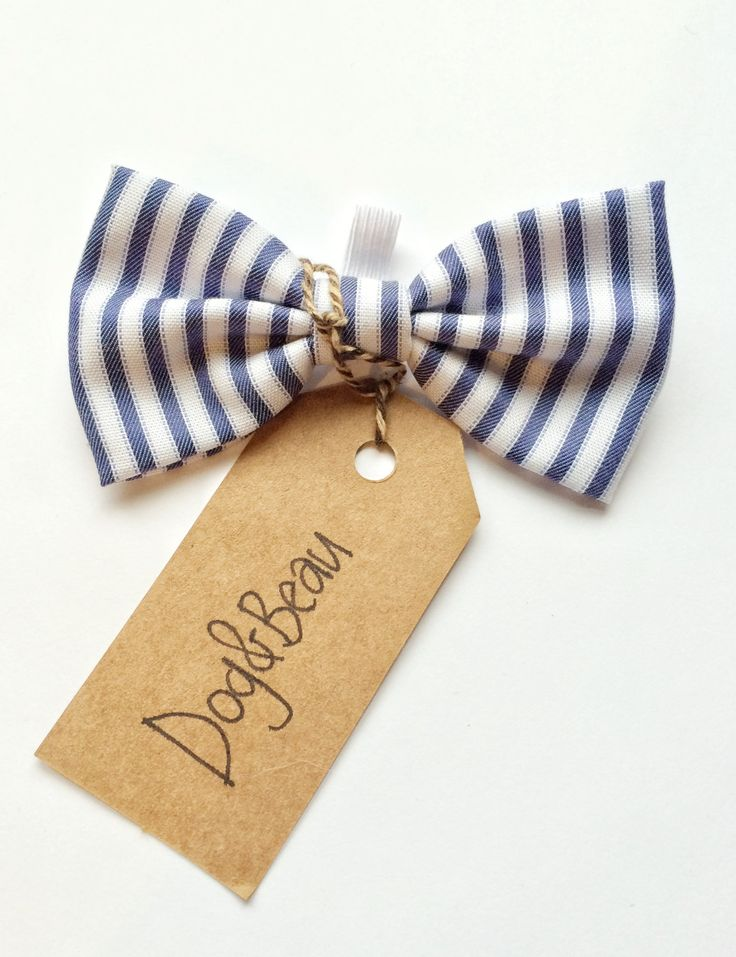 dog bow tie, stripey bow tie, blue bow tie, doggy bow tie, gifts for dogs, gifts for pets by DogandBeau on Etsy