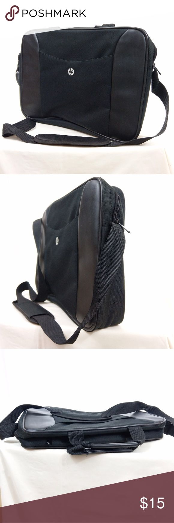 """HP Basic Laptop Carrying Case 453781-001 This HP laptop bag is simply designed and the interior has dual compartments. Exterior has Velcroed pocket. It is lightweight and fits up to a 15.4"""" laptop. Has 2 handles and strap. Made from nylon. Bag is in great used condition. (Area 10) HP Bags Laptop Bags"""