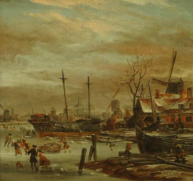 Abraham Storck,Winter Landscape with Haarlem in the Distance. ca. 1700. Frans Hals Museum #franshalsmuseum #haarlem #art