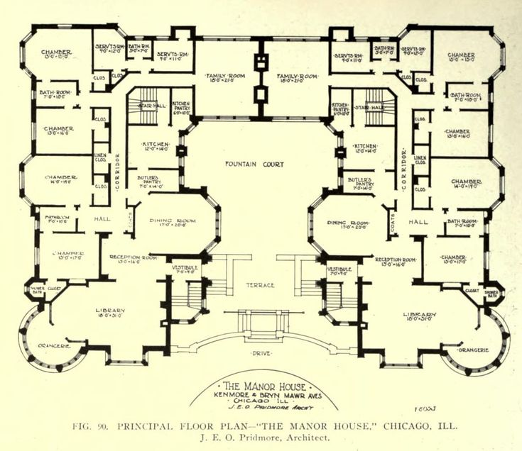 18th century english manor house plans for Manor floor plans