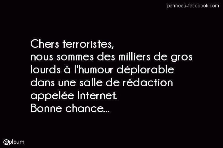 Oui, et je revendique faire partie de ces gens lourds à l'humour déplorable. #JeSuisCharlie (Pic v/@Matymen)