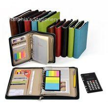 A5 A6 espiral de hojas sueltas diario de viaje recargable mini documento carpeta de archivo del bolso maletín cartera con cremallera calculadora(China (Mainland))