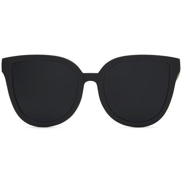 Quay Paradiso Black Sunglasses ($50) ❤ liked on Polyvore featuring accessories, eyewear, sunglasses, quay sunglasses and quay eyewear