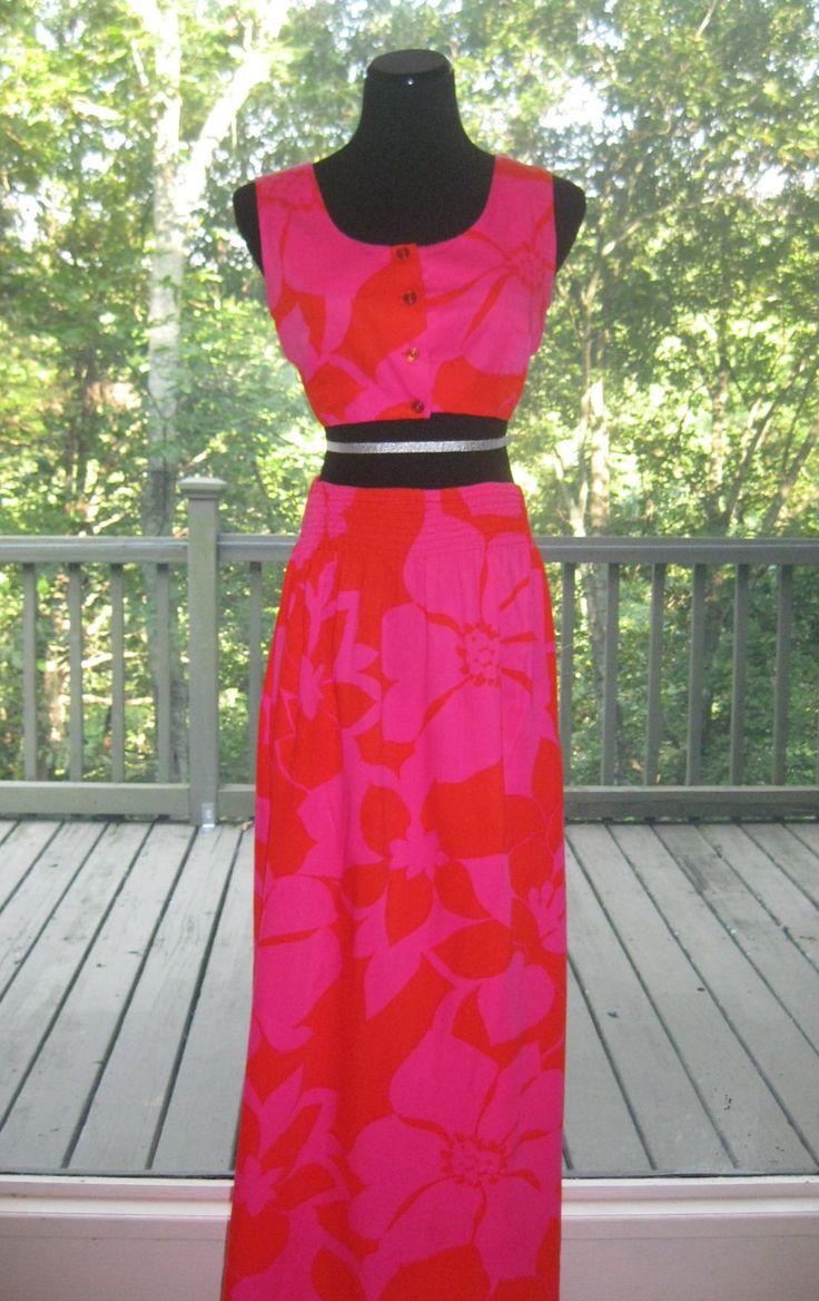 60s Hawaiian Skirt Shirt Set, Vintage Honolulu Originals Pink Orange Hibiscus Floral Bark Cloth Crop Top & Maxi Skirt Size M Medium L Large by WellWornWardrobe on Etsy