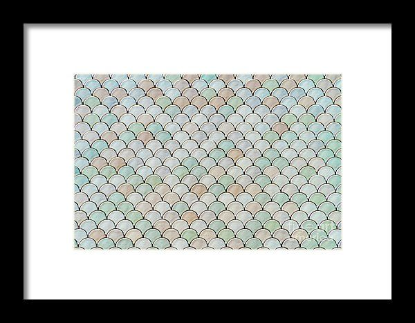 Architectural Mesh Detail With Fish Scales Texture Bump Framed Print