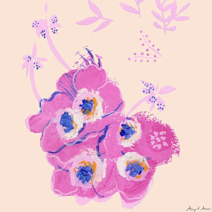 Flower in pink and little bit touch of ultramarine and yellow ochre