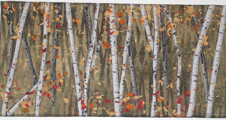 Fall Birches, fabric collage, by Chris Allaway for sale