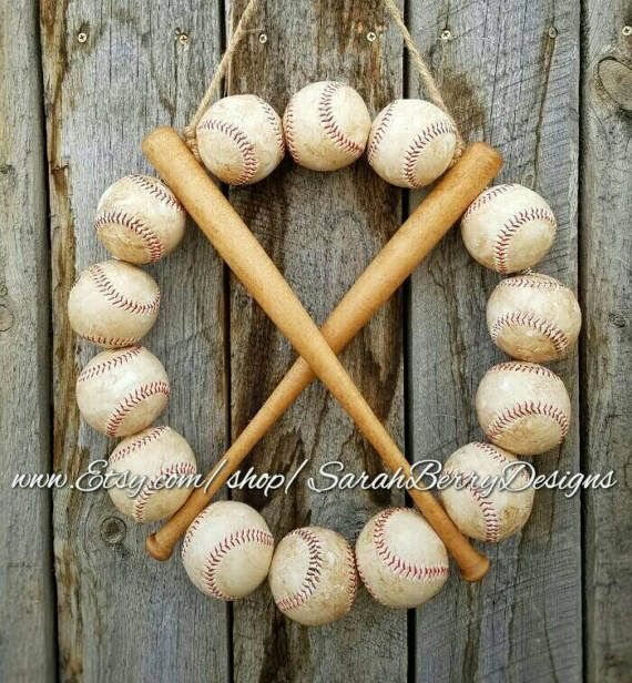 Coolest baseball wreath I've ever seen!!  I need this one!! Check out this item in my Etsy shop https://www.etsy.com/listing/507295678/baseball-bat-wreath-made-with-real
