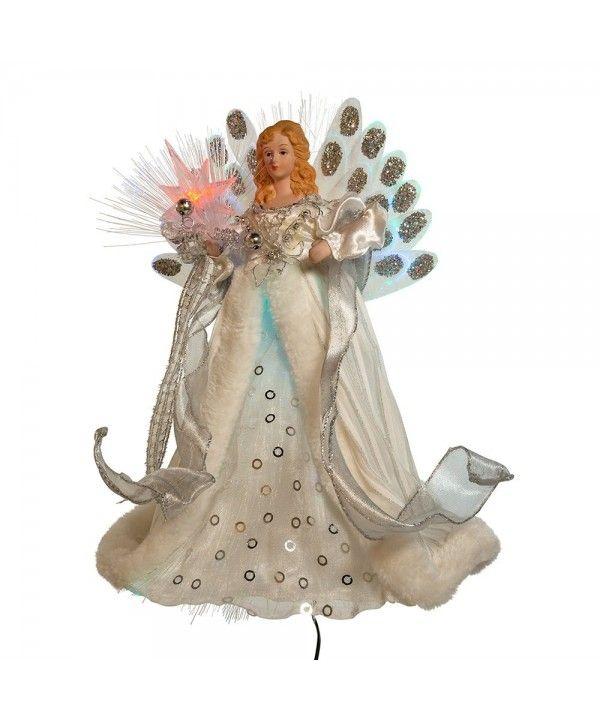 Led Fiber Optic Angel Figurine 12 Inch White And Silver C311jqbwxfb Fiber Optic Christmas Tree Angel Figurines Tree Toppers