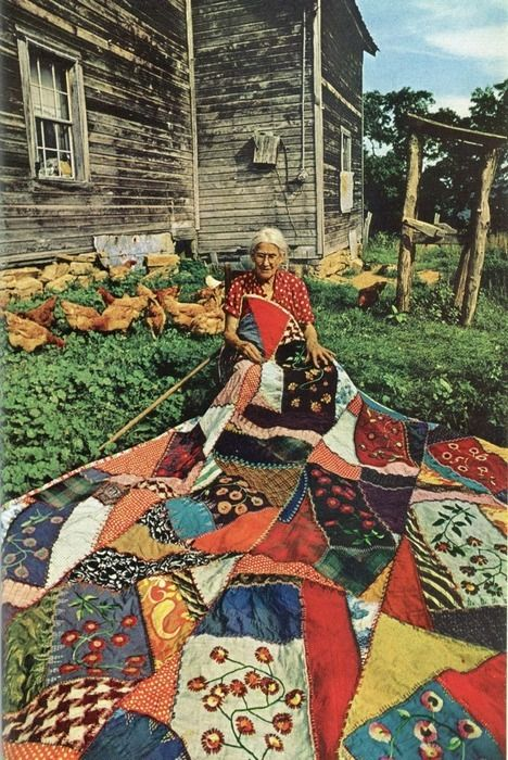 this would probably be 1970s, but it's also a portrait of me in 20 years... a crazy quilt and a pile of chooks.... yep, that sounds about right.