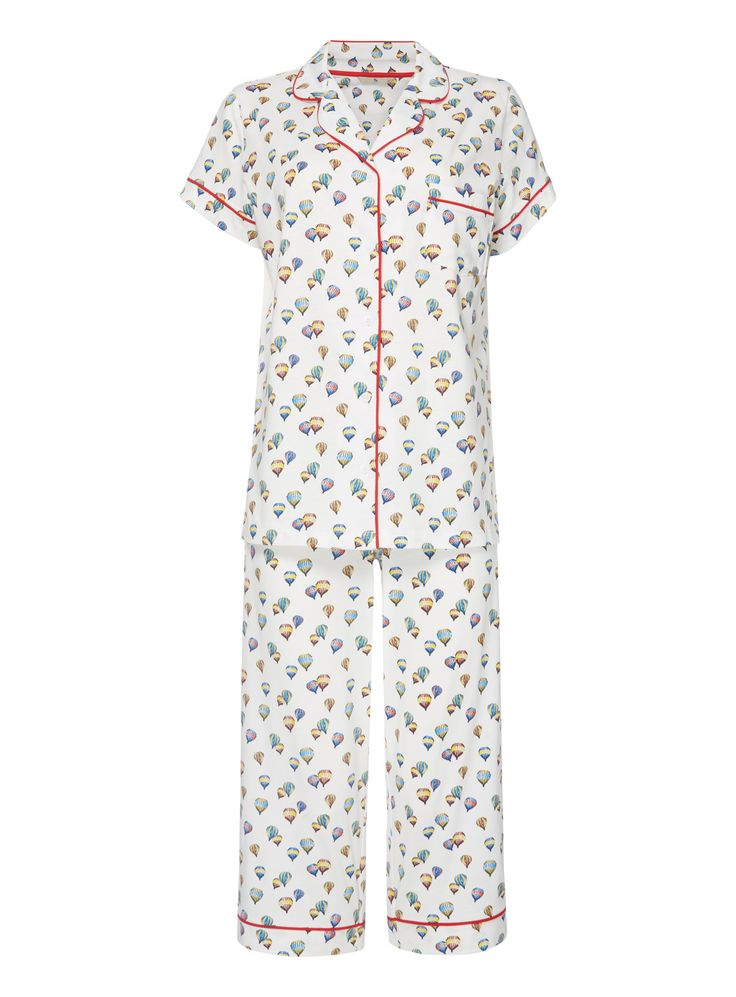 Keep your night times classic in this traditional PJ set, designed with a playful hot air balloon pattern and contrast red trim. Multicoloured balloon pj set Pure cotton Chest pocket Pattern Contrast trim Model's height is 5'11'' Model wears a size 12