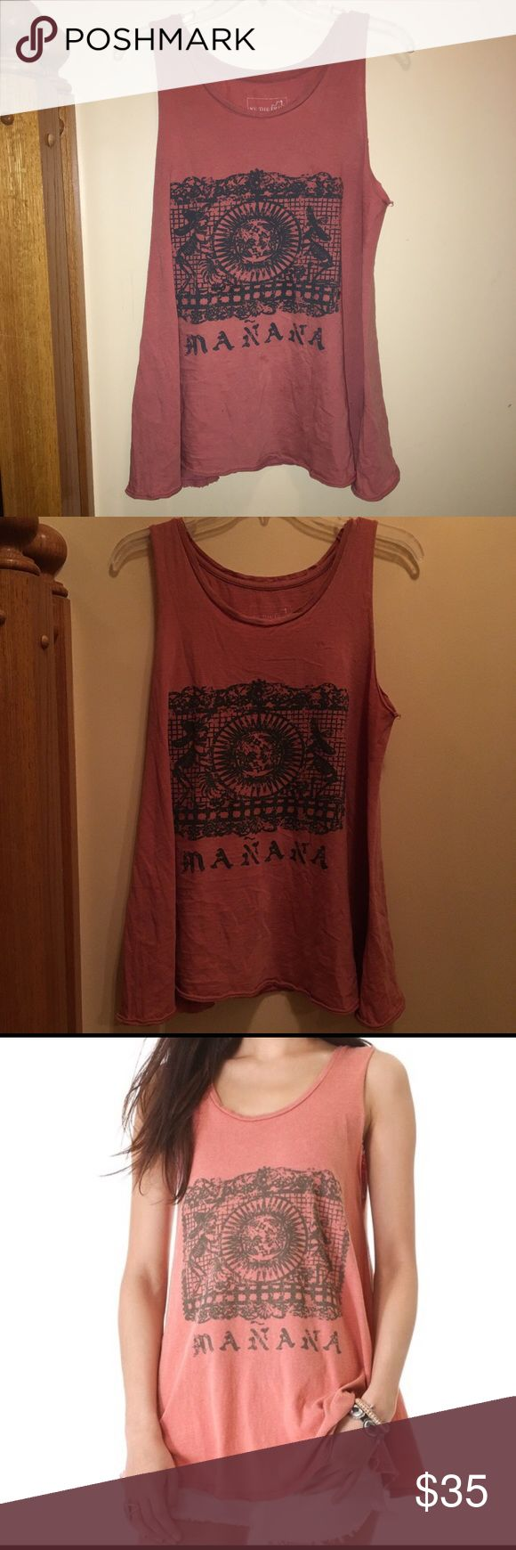 """SALE Free People pink shirt Dusty pink color, pretty long! It says """"mañana"""" on it with a really cool skeleton/sun design Free People Tops Tees - Short Sleeve"""