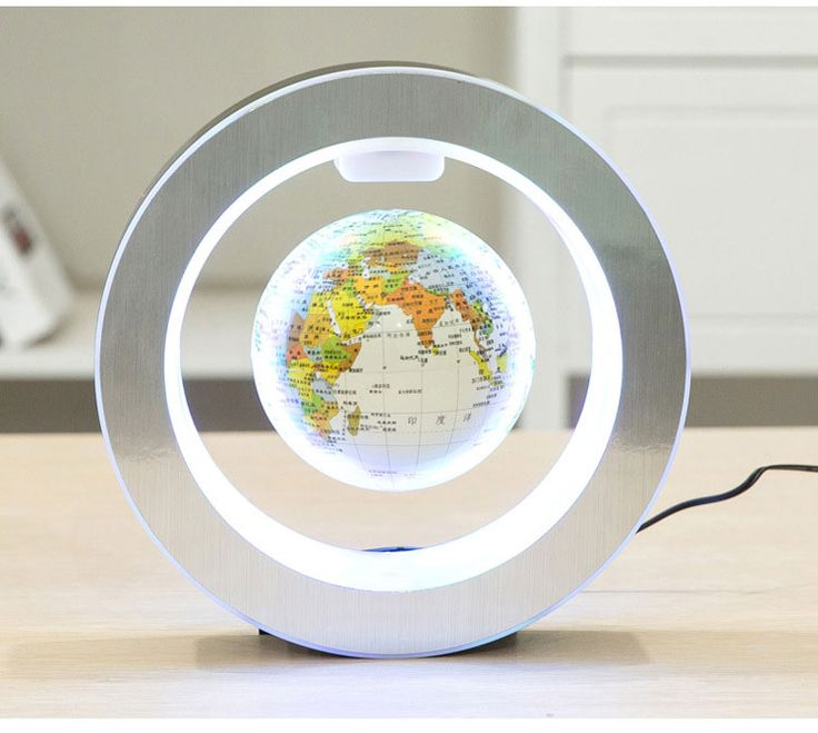 Novelty Round LED World Map Floating Globe Magnetic Levitation Light Antigravity Magic/Novel Lamp Birthday Home Dec Night lam #Affiliate