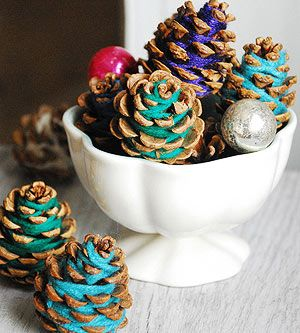 Clever and Cool Holiday Décor Projects: Yarn-Wrapped Pinecones (via Parents.com)