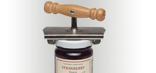 •There's just no substitute for old-fashioned quality and ingenuity. Case in point: this time-proven jar opener. Great for people with weak or arthritic hands, it easily opens all types of jars and bottles by placing the opener on the lid and turning the wooden handle. Made of sturdy chrome steel