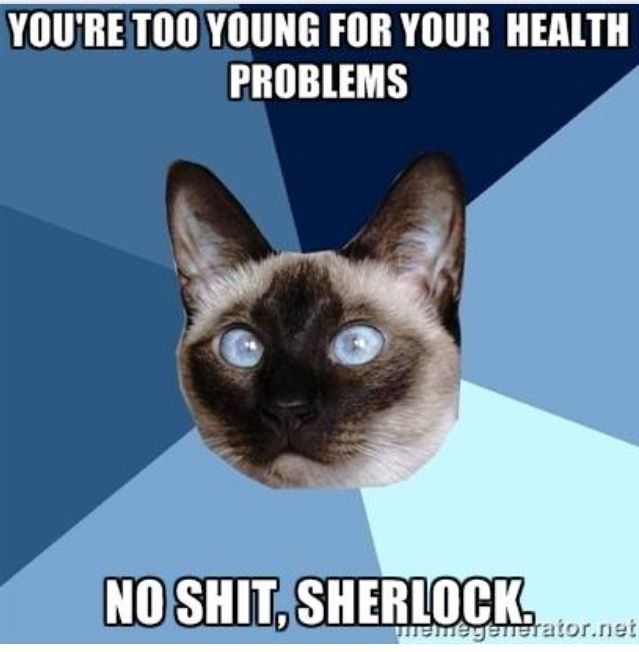 You're to young for your health problems...No shit, Sherlock | Chronic Illness Cat