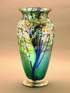 Teal Hawthorn vase by Bruce Sillars for Orient & Flume Art Glass