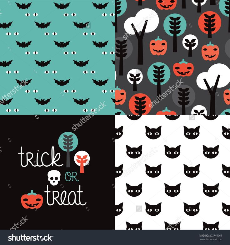 seamless kids halloween illustration pumpkin cat background pattern and trick or treat cover design in vector - Design Halloween