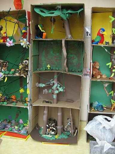 I like the idea of 3-D, physical and visual representations of habitats. Creating this kind of rainforest diorama would take a lot of investigation and trial and error to make it work. I think this would require critical thinking and many cross-content skills to construct.