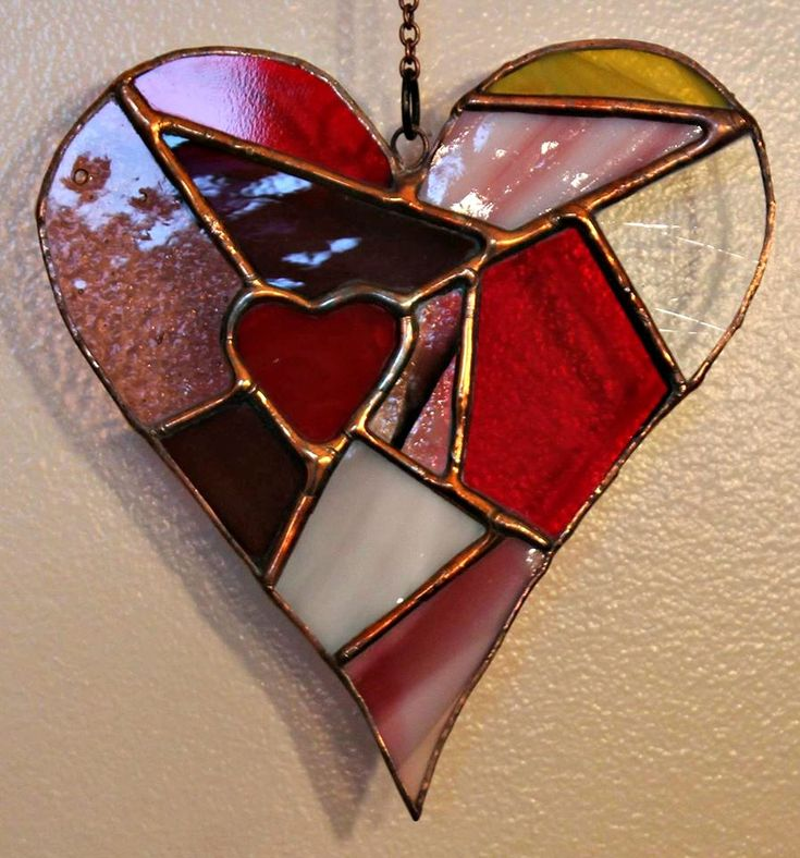 I love this stained glass heart with copper solder. Very unique.