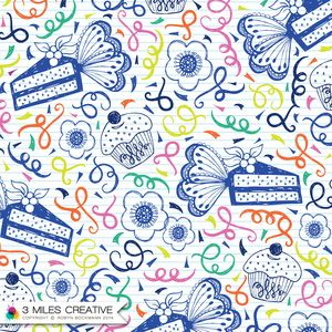 """""""Butterfly Cake"""" surface pattern / textile design by Robyn Bockmann COPYRIGHT 2014."""