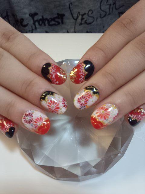 Asia Nägel chinesisches japanisches Nagel Design Kimono-Muster-Nagel