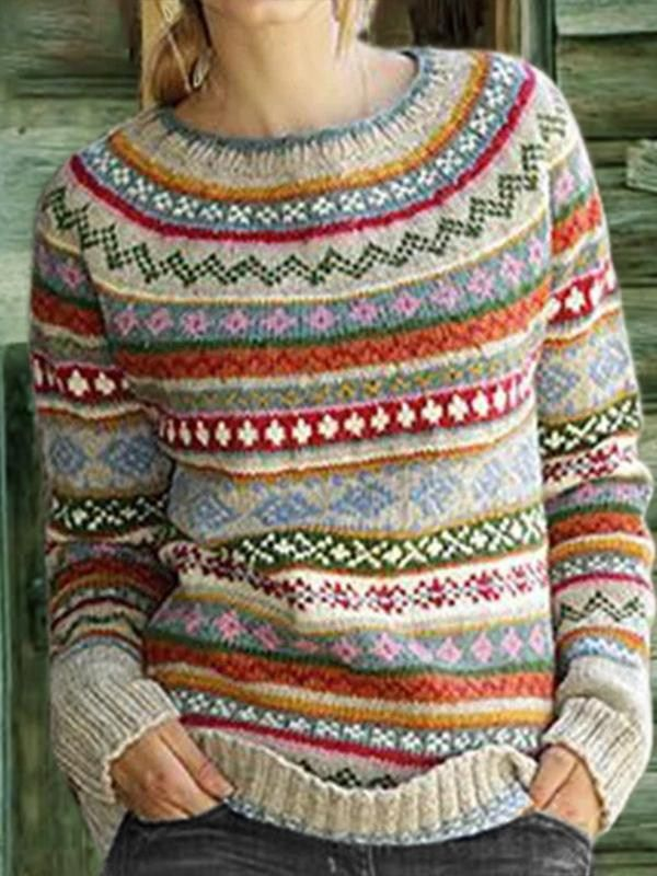 Striped Fair Isle Sweater Women's Pullover Sweaters - realyiyi.com | Pullover  sweater women, Geometric sweater, Round neck sweaters