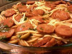 Receita de Espaguete com molho de calabresa