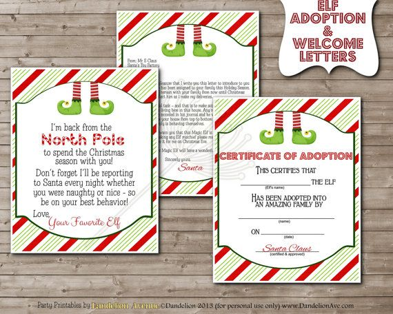 magic little shelf elf welcome letter adoption certificate printable