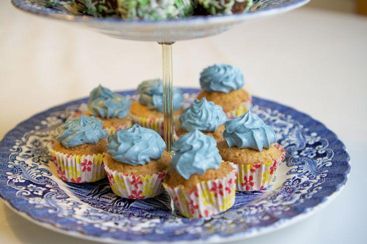 Vaniljmuffins med blå frosting