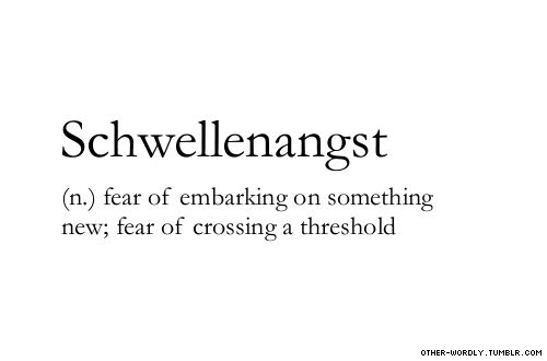pronunciation |  'shwel-en-ahngst\                                    #schwellenangst, noun, german, this is turning into a german language blog, fear, threshold, anxiety, fear of new things