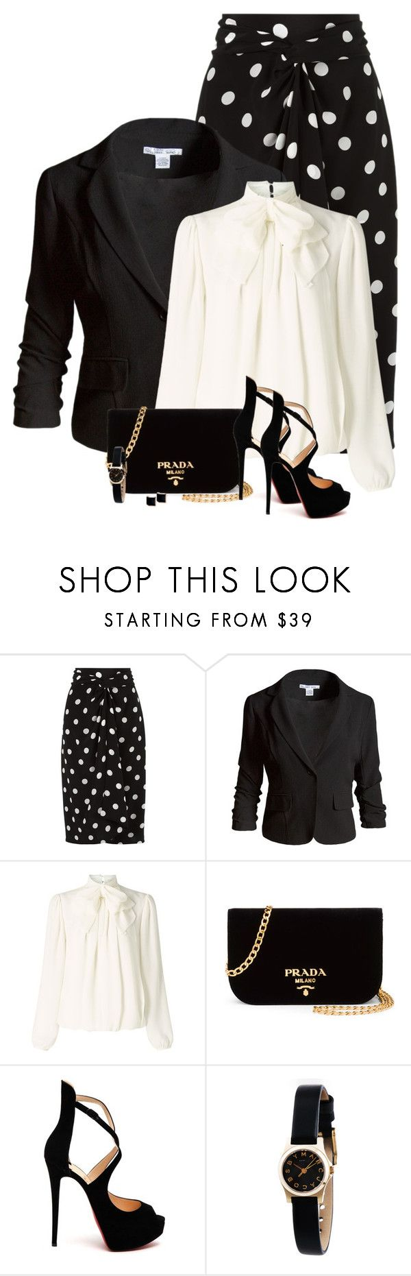 """Black & White"" by barbarapoole ❤ liked on Polyvore featuring Andrea Marques, Sans Souci, Somerset by Alice Temperley, Prada, Christian Louboutin, Marc by Marc Jacobs and Kattri"