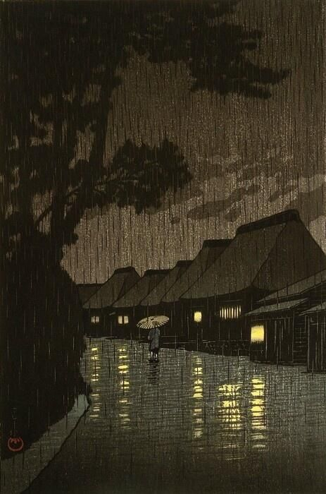 Rainy night at Maekawa - Hasui Kawase