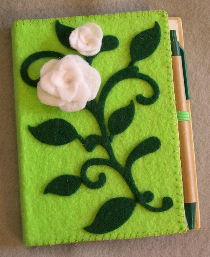 Elegant white rose and green felt covered journal. $13.50, via Etsy.