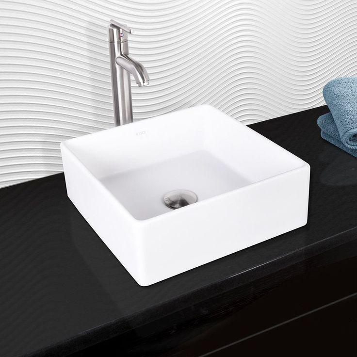 Vigo Bavaro Composite Vessel Sink and Seville Bathroom Vessel Faucet in Brushed Nickel, White