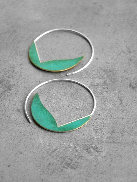 Verdigris Curvy Hoops brass earrings sterling silver par alibli