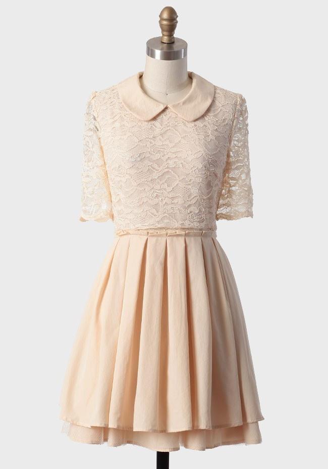Season's Greetings Pleated Dress | Modern Vintage Winter Whites