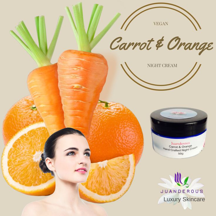 Carrot & Orange Night Face Cream 50g - Vegan Product. $35.00 Using organic aloe vera with gotu kola, and, carrot seed and sweet orange essential oils, will leave your damaged and sensitive skin glowing, hydrated, rejuvenated, soft and smooth. Fine lines and wrinkles will be improved, as too broken blood vessels. It is the best choice for those that have irritated skin and anyone looking for a vegan product.