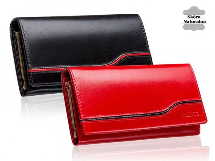 Duży portfel damski ze skóry naturalnej. Dużo przegródek i kieszeni. Pojemny, zapakowany w oryginalne pudełko Bellugio. Idealny na prezent.