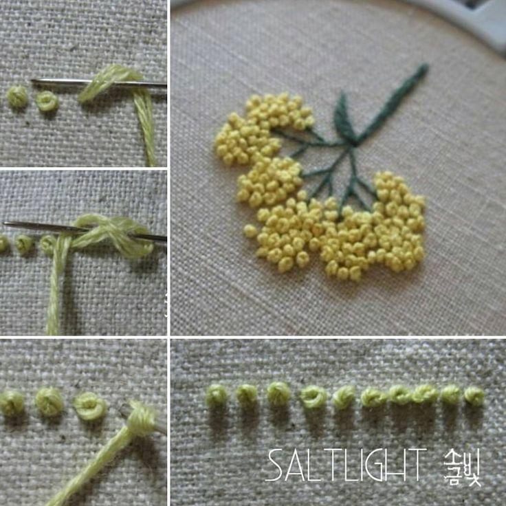 331 個讚,6 則留言 - Instagram 上的 소금빛 자수 saltlight embroidery(@saltlight_):「 콜로니얼 넛 스티치 Colonial Knot stitch  매듭 수의 일종입니다.  #소금빛자수 #모사자수실 #자수기법 #손끝에서피는꽃과자수 #입체자수꽃나무열매… 」