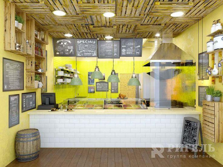 Аппетитный фудкорт «Gelman Grill» в ТЦ «Рио»от #rigelgroup. Площадь: 40 м2 Срок: 5 недель.  Что хотел заказчик: Создать привлекательный фудкорт. Сделать кухню открытой посетителям, показать процесс готовки только изнатуральных продуктов. Соблюсти все санитарные нормы.  Результат проекта: Мы отделили только заготовочный цех. Гриль и вытяжкивынесли на стойку, оборудовали их жаростойкимстеклом. Оно защищает посетителей от брызг. При этомвидно, как повар жарит сочные мясо и рыбу.Эко стиль…