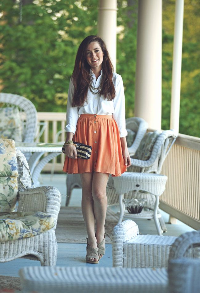 ..: Day Outfits, Southern Style, Skirt Dress Outfit, Coral Skirt, Style Coming, Classy Girls Wear Pearls, Classy Casual, Classygirlswearpearls Com