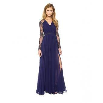 Compra Lace Inn®Las mujeres del vestido de noche largo vestido de encaje mangas con cuello en V de alta vestido de hendidura - con envío a todo Mexico | No hagas filas, paga al recibir sólo en Linio | ¡Entra ya!