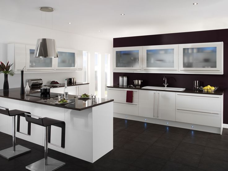 Black And White Modern Kitchen Interior Design Displaying Cool Wall  Cabinets Using Frosted Glass Doors Above Kitchen Cabinet Which Has Lovely  Led Lights ... Part 65