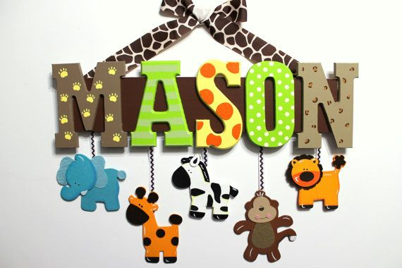 Jungle Animal Baby Name Sign Hand Painted Custom Nursery Decor - Personalized Wall Letters With Hanging Elephant Giraffe Monkey Zebra Lion, $62.00